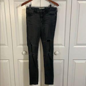High rise distressed Hollister black skinny jeans